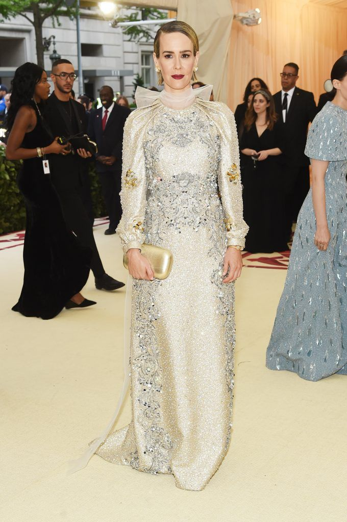 NEW YORK, NY - MAY 07:  Sarah Paulson attends the Heavenly Bodies: Fashion & The Catholic Imagination Costume Institute Gala at The Metropolitan Museum of Art on May 7, 2018 in New York City.  (Photo by Jamie McCarthy/Getty Images)