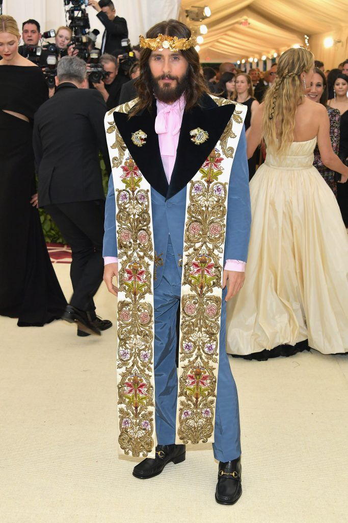 NEW YORK, NY - MAY 07:  Jared Leto attends the Heavenly Bodies: Fashion & The Catholic Imagination Costume Institute Gala at The Metropolitan Museum of Art on May 7, 2018 in New York City.  (Photo by Neilson Barnard/Getty Images)