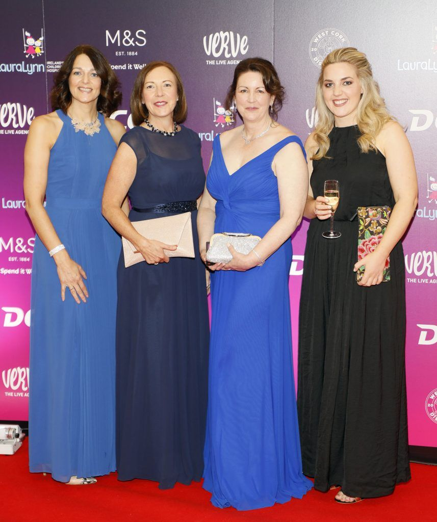 Gillian Ross, Linda Wilkinson, Alyson Coogan and Sarah Murray at the third annual LauraLynn Heroes Ball at Dublin's InterContinental Hotel, May 12th 2018. Photo: Kieran Harnett