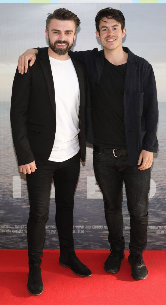 Matthew Toman and Daniel Holmes pictured at the premiere of the new Irish film DIVE at Omniplex Rathmines, Dublin. Photo by Brian McEvoy