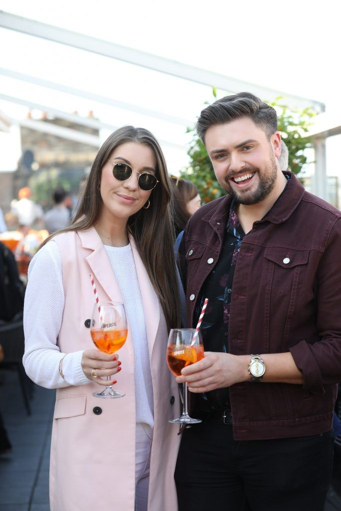 James Patrice and Clementine McNeice pictured as Aperol Spritz, Italy's favourite aperitif, unveiled a new home in Dublin, Terrazza Aperol at Sophie's. Photo by Julien Behal
