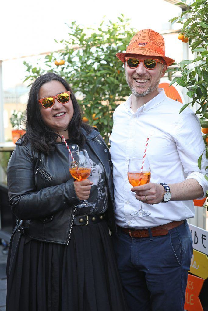 Emma and Alan Henderson pictured as Aperol Spritz, Italy's favourite aperitif, unveiled a new home in Dublin, Terrazza Aperol at Sophie's. Photo by Julien Behal