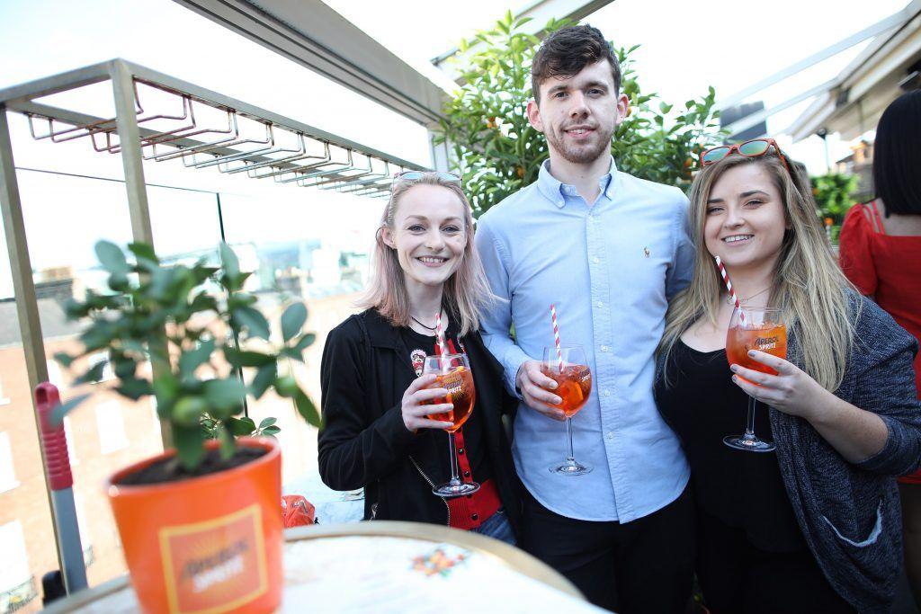 Catherine Royle, Joe McGoldrick and Emma Costello pictured as Aperol Spritz, Italy's favourite aperitif, unveiled a new home in Dublin, Terrazza Aperol at Sophie's. Photo by Julien Behal