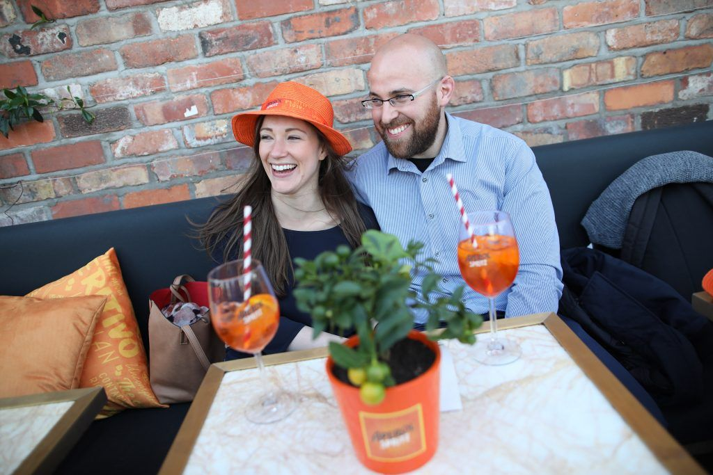 Marica Pezzi and Darren Kennedy pictured as Aperol Spritz, Italy's favourite aperitif, unveiled a new home in Dublin, Terrazza Aperol at Sophie's. Photo by Julien Behal