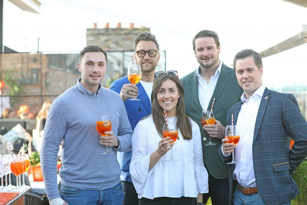 Ian Kennedy, Rebecca Savage, Federico Riezzo,Gavin Woodroofe and Jeff Brennan pictured as Aperol Spritz, Italy's favourite aperitif, unveiled a new home in Dublin, Terrazza Aperol at Sophie's. Photo by Julien Behal