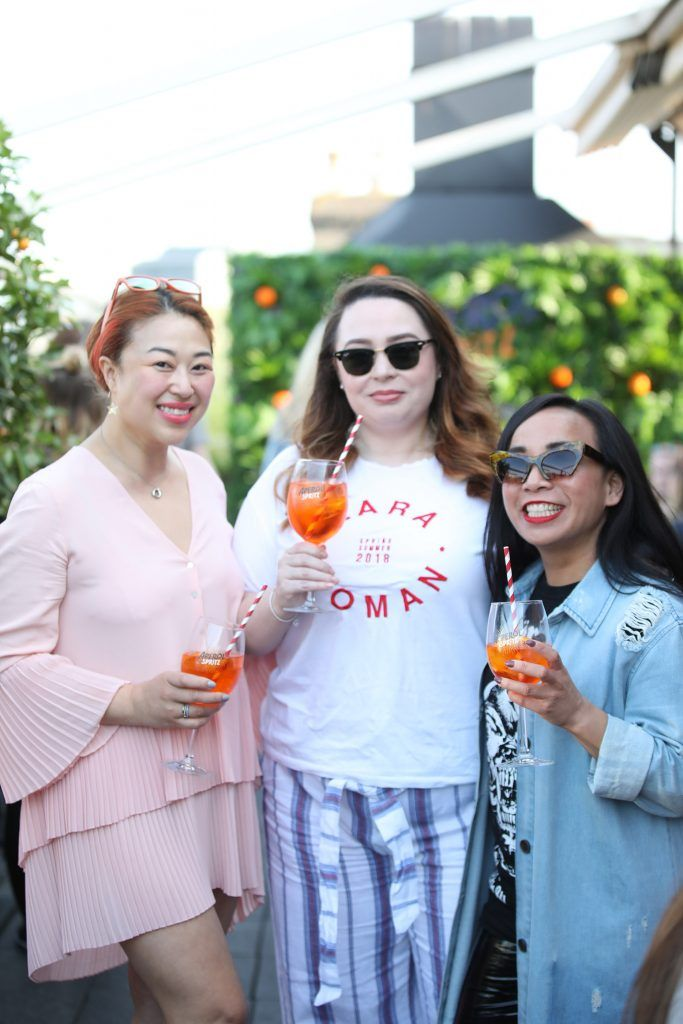 Judy Wong, Gemma Burke and Ella Deguzman pictured as Aperol Spritz, Italy's favourite aperitif, unveiled a new home in Dublin, Terrazza Aperol at Sophie's. Photo by Julien Behal