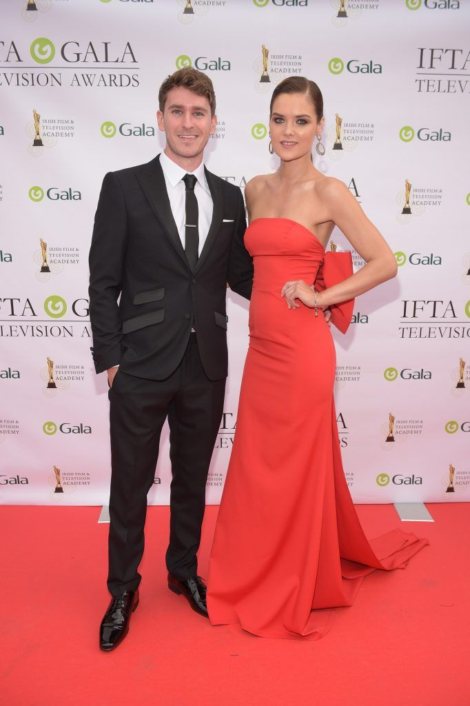 Chris Newman and Dana Arikane arriving on the red carpet for the IFTA Gala Television Awards 2018 at the RDS. Photo by Michael Chester
