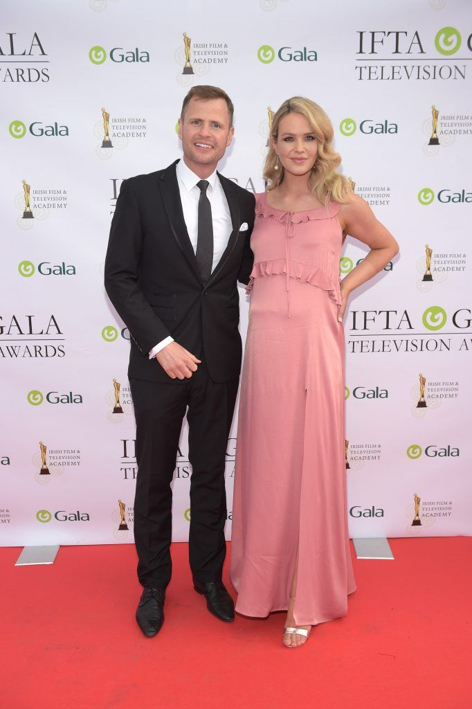 Aoibhin Garrihy with husband John Burke arriving on the red carpet for the IFTA Gala Television Awards 2018 at the RDS. Photo by Michael Chester
