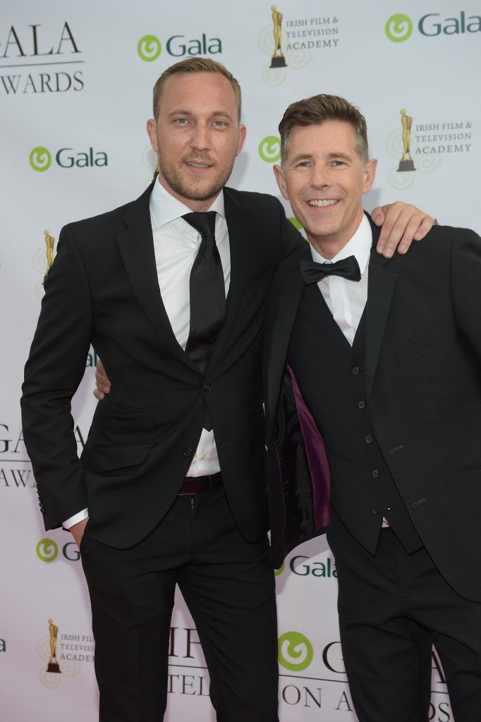 Dermot Bannon and Mateo Saina arriving on the red carpet for the IFTA Gala Television Awards 2018 at the RDS. Photo by Michael Chester