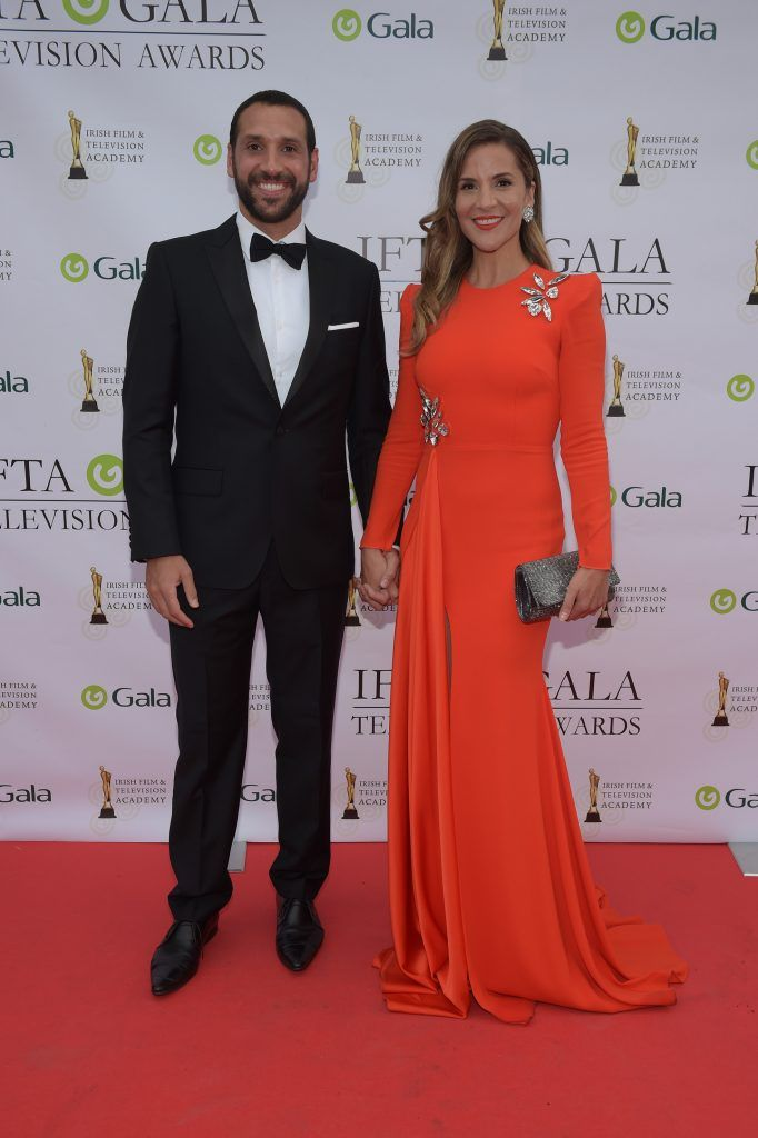 Julian Okines and Amanda Byram arriving on the red carpet for the IFTA Gala Television Awards 2018 at the RDS. Photo by Michael Chester