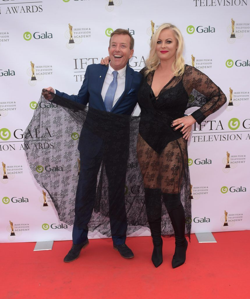 Alan Hughes and Amanda Brunker arriving on the red carpet for the IFTA Gala Television Awards 2018 at the RDS. Photo by Michael Chester