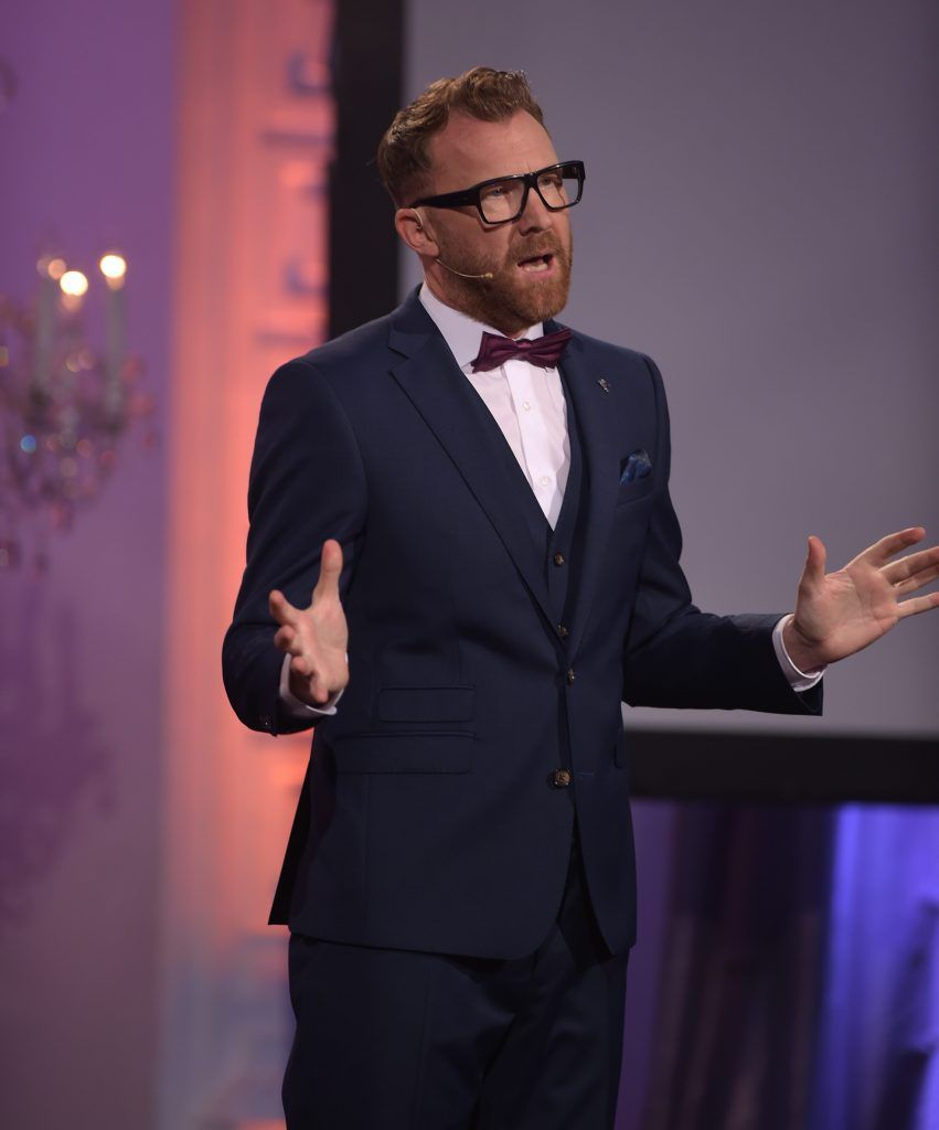 Jason Byrne on stage presenting the IFTA Gala Television Awards 2018 at the RDS Dublin. Photo by Michael Chester