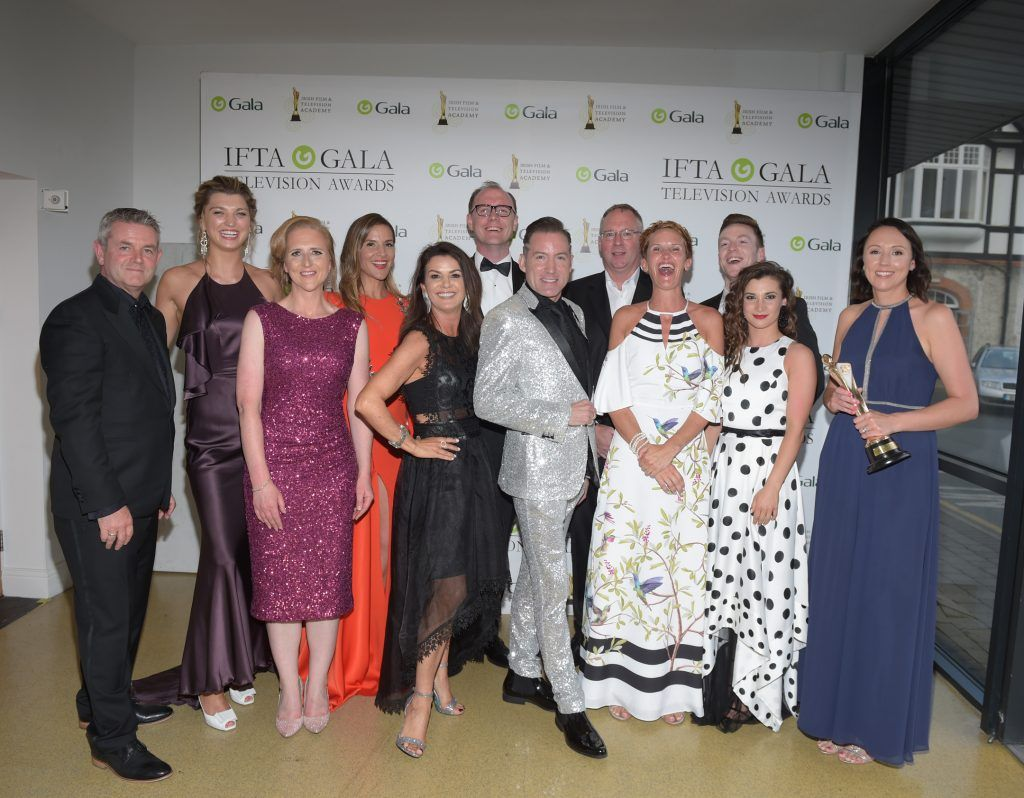 Some of the cast and crew of Dancing with the Stars who received the Entertainment Award at the IFTA Gala Television Awards 2018 at the RDS Dublin. Photo by Michael Chester