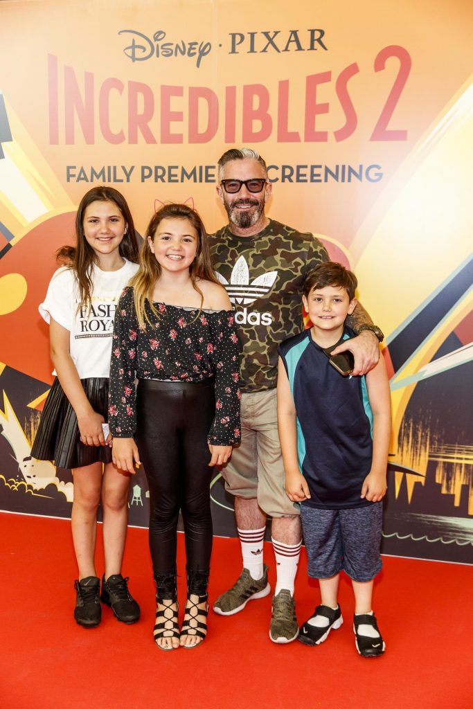 Mark O'Keeffe with his family Charlie, Issee and Ely pictured at the special family preview screening of Incredibles 2 in ODEON Point Village. Picture Andres Poveda