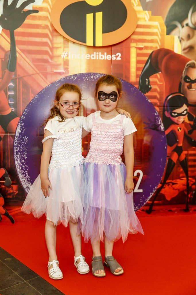 Saibh (5) and Aoibheann Fitzgibbon (6) from Beaumount pictured at the special family preview screening of Incredibles 2 in ODEON Point Village. Picture Andres Poveda