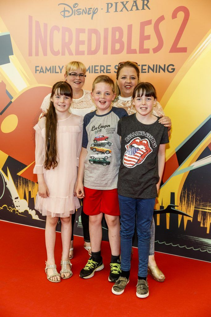 Corrina Stone and Sue Jordan with (from) Aoife Stone, Seamus Stone and Orla Stone from Kildare pictured at the special family preview screening of Incredibles 2 in ODEON Point Village. Picture Andres Poveda