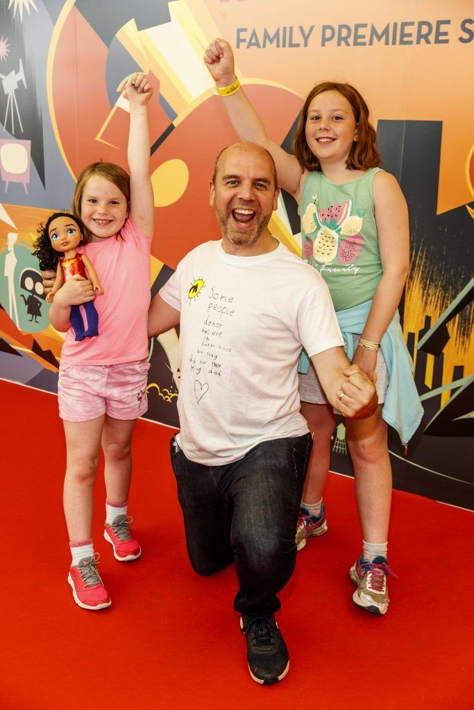 Susan (8), Mark and Grainne Henry (10) pictured at the special family preview screening of Incredibles 2 in ODEON Point Village. Picture Andres Poveda
