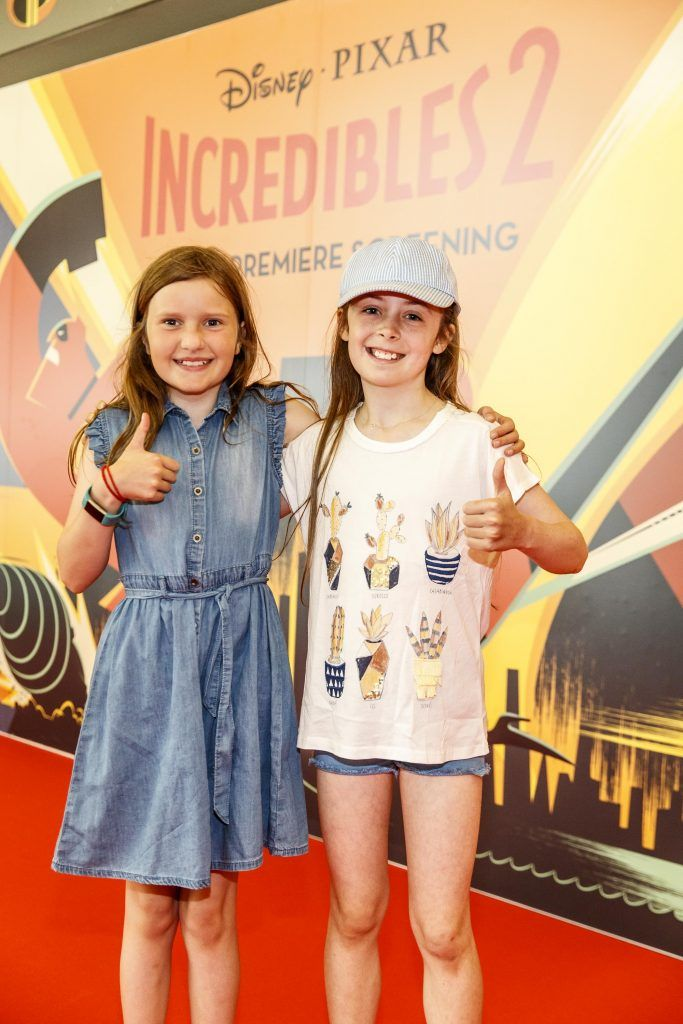 Repro Free: 08/07/2018 Catherine Leahy (9) Alice Keogh (9) pictured at the special family preview screening of ICREDIBLES2 in the Odeon Point Village. Picture Andres Poveda