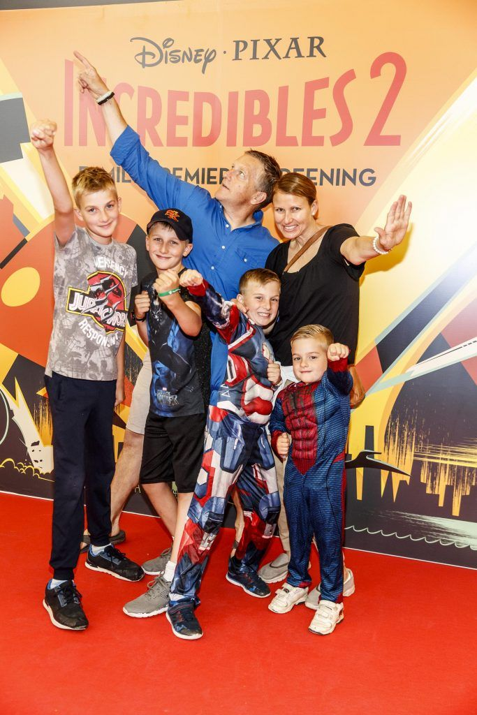 Mark and Michelle Bosse with family Jacob (12), Luke (10), Samuel (7) and Adam (4) pictured at the special family preview screening of Incredibles 2 in ODEON Point Village. Picture Andres Poveda