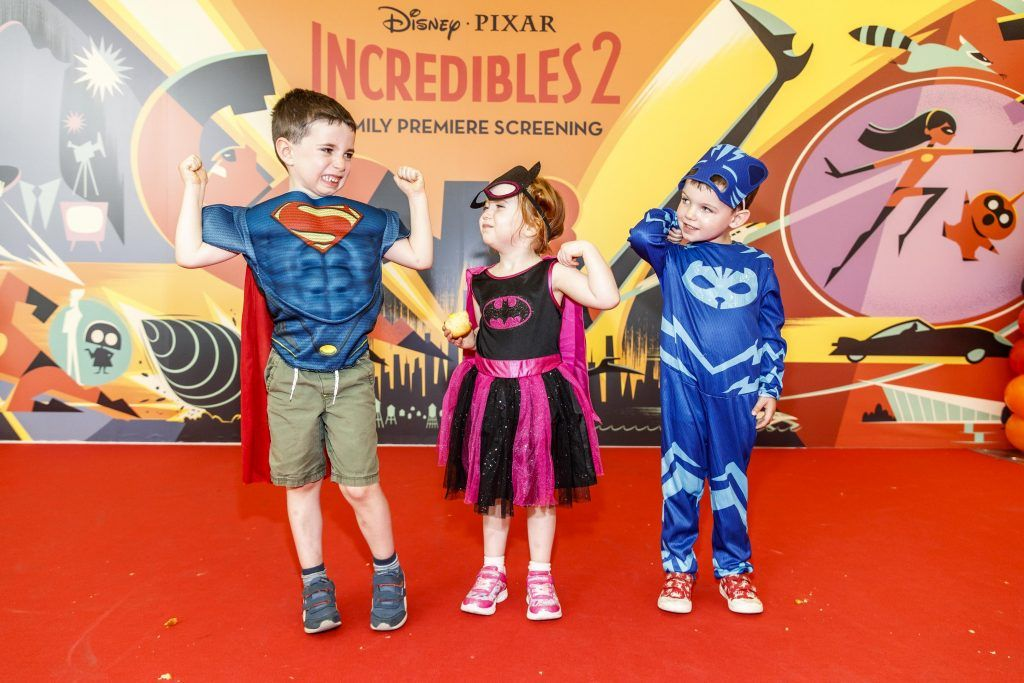 Sean Hughes (6) Eva Hughes (3) and Jake Kelly (3) pictured at the special family preview screening of Incredibles 2 in ODEON Point Village. Picture Andres Poveda