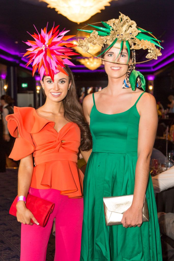 Winner of the g Hotel Best Hat, Aoife O'Sullivan and Orla Ryan at the Ladies Day After Party in the g Hotel & Spa. Photo: Martina Regan