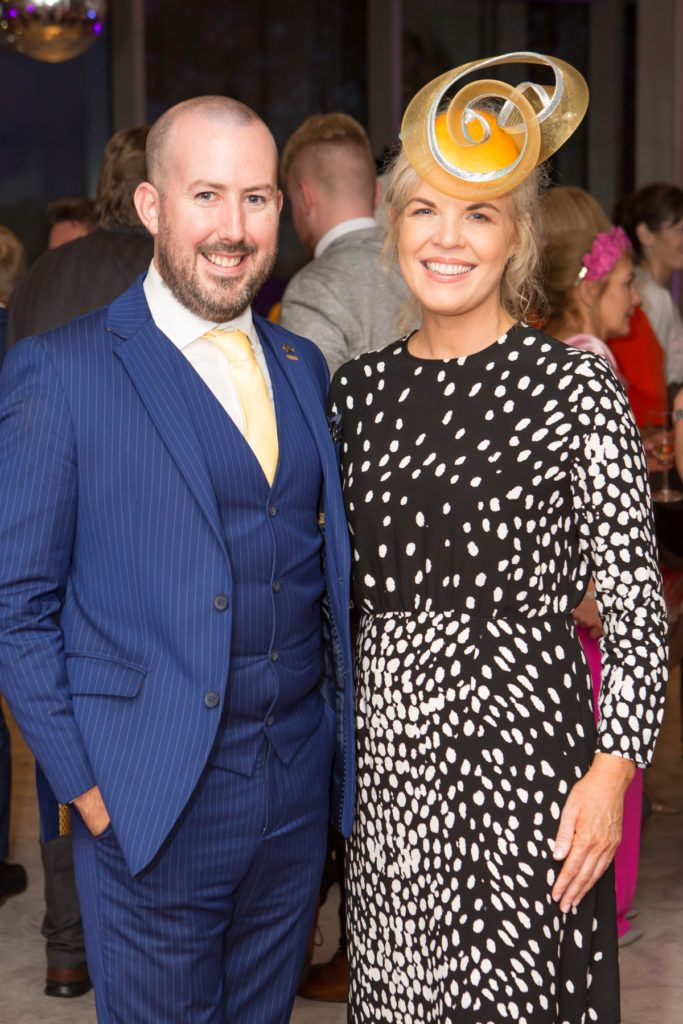 Kieran O'Malley and Stylist Marietta Doran at the Ladies Day After Party in the g Hotel & Spa. Photo: Martina Regan