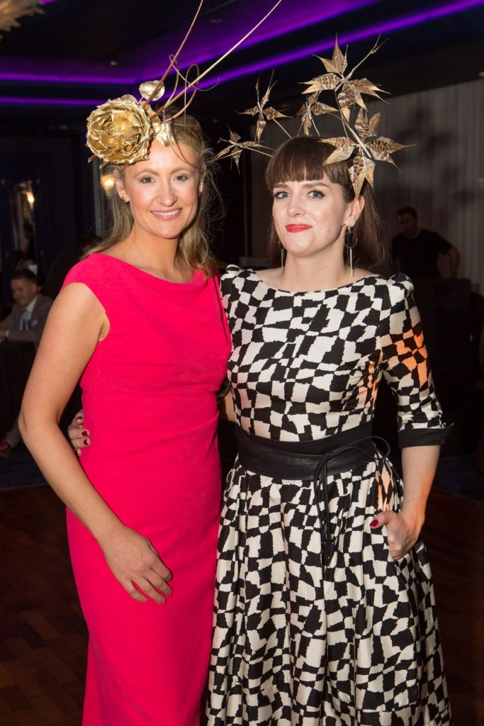 Milliners Emily-Jean O'Byrne and Michelle Kearns at the Ladies Day After Party in the g Hotel & Spa. Photo: Martina Regan