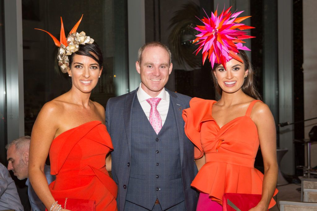 Lisa McGowan, Andrew Drysdale, GM, g Hotel and Winner of the g Hotel Best Hat, Aoife O'Sullivan at the Ladies Day After Party in the g Hotel & Spa. Photo: Martina Regan