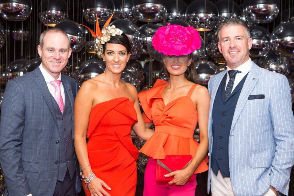 Andrew Drysdale, GM, g Hotel, Lisa McGowan, Winner of the g Hotel Best Hat - Aoife O'Sullivan and Winner of the g Hotel Most Stylish Man, Gavin Fleet at the Ladies Day After Party in the g Hotel & Spa. Photo: Martina Regan
