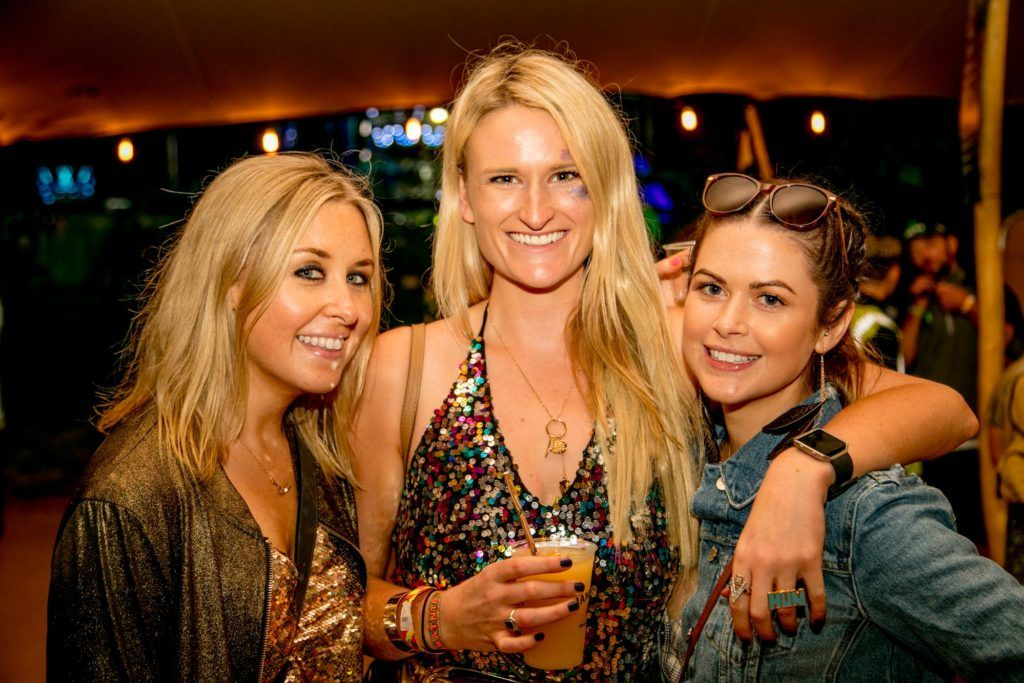 Claire Gillette, Becky Wallace and Sena Ross pictured at The Jameson Bar at All together now Festival in Waterford over the Bank holiday weekend. Picture: Allen Kiely