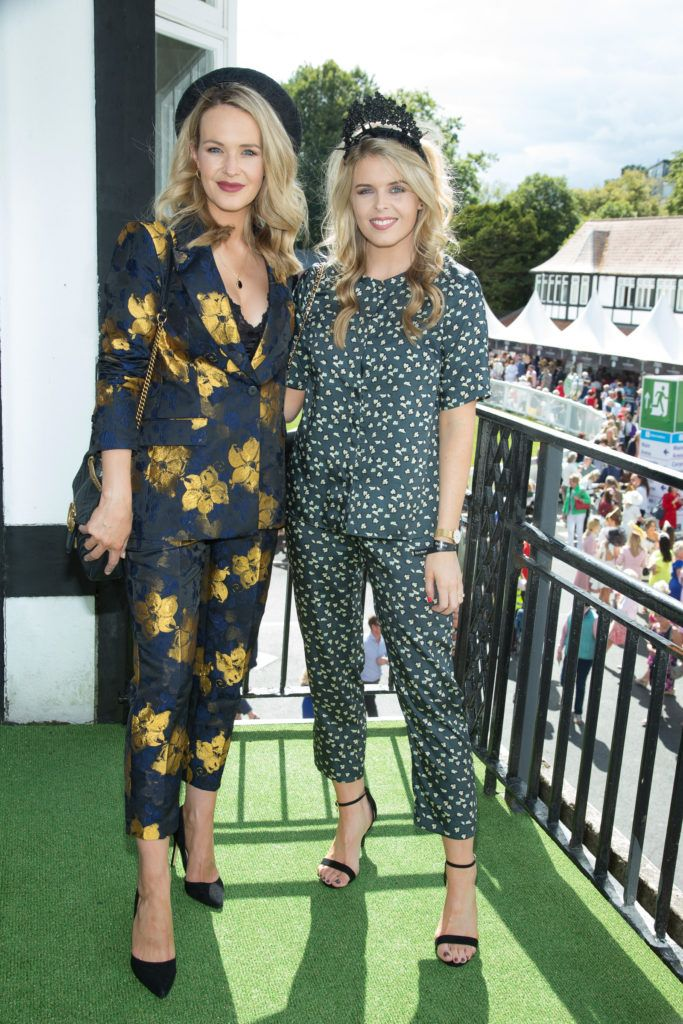 Aoibhin Garrihy & Ailbhe Garrihy pictured at the Dundrum Town Centre Ladies Day at the Dublin Horse Show. This years winner was Deirdre Kane from Carlow. Photo: Anthony Woods