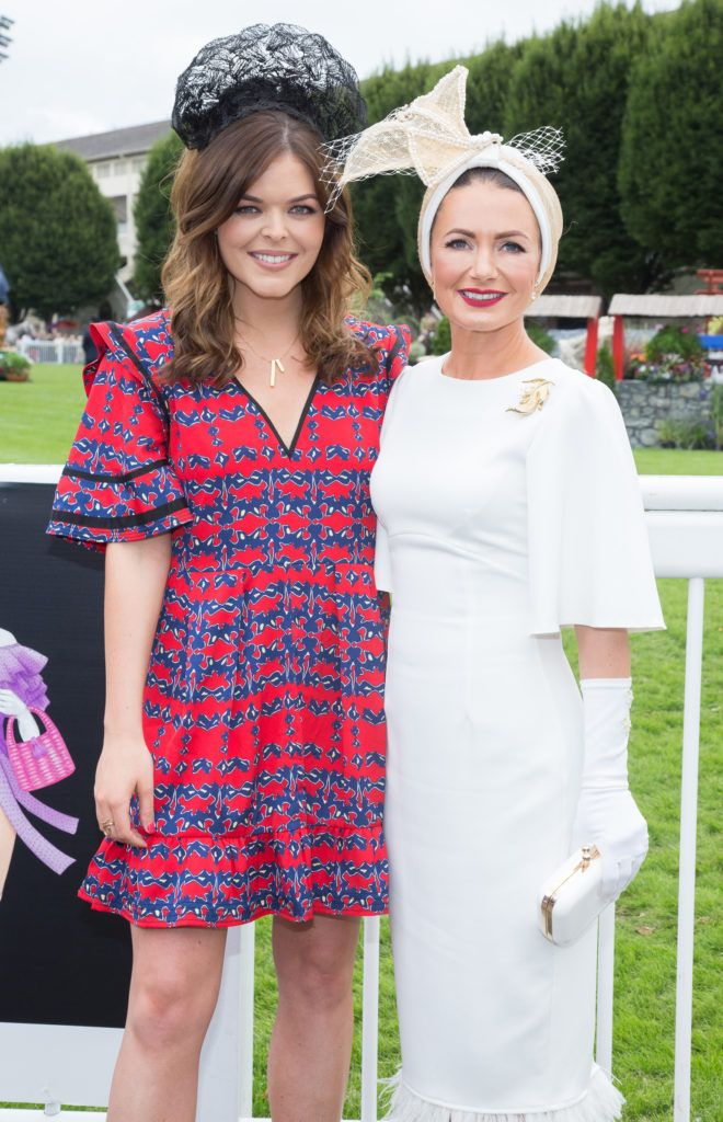 Doireann Garrihy and Deirdre Kane from Carlow named best dressed at the Dundrum Town Centre Ladies Day at the Dublin Horse Show. Photo: Anthony Woods