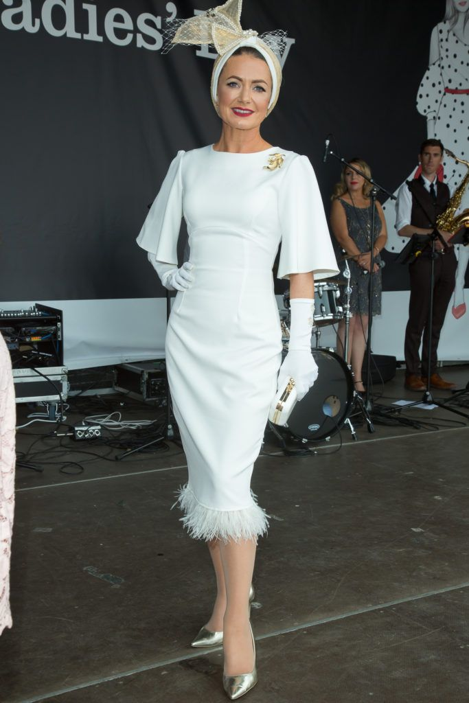 Deirdre Kane of Carlow named 'best dressed' at the Dundrum Town Centre Ladies' Day at the Dublin Horse Show. Photo: Anthony Woods