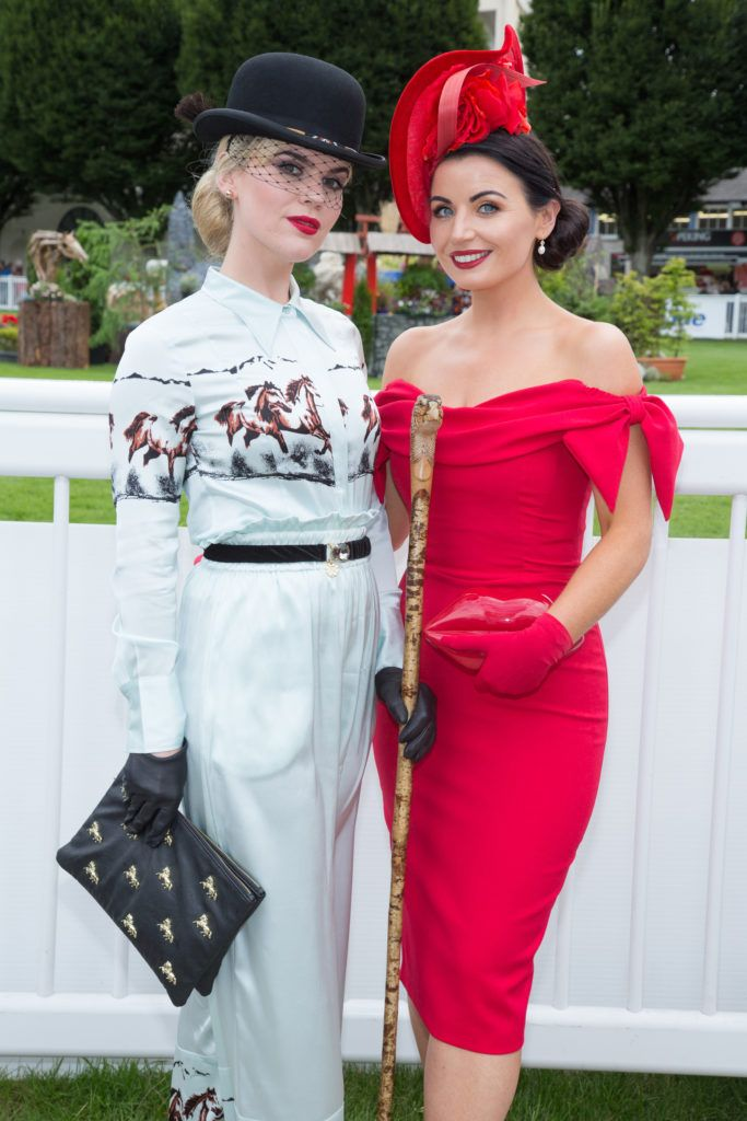 Danielle Gingell & Sarah Cass pictured at the Dundrum Town Centre Ladies Day at the Dublin Horse Show. This years winner was Deirdre Kane from Carlow. Photo: Anthony Woods