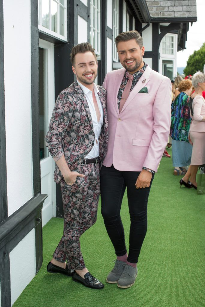 Mark Rodgers & James Patrice pictured at the Dundrum Town Centre Ladies Day at the Dublin Horse Show. This years winner was Deirdre Kane from Carlow. Photo: Anthony Woods
