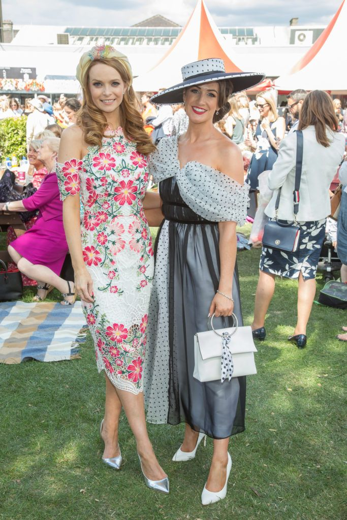 Rebecca Rose Quigley & Aoife Walsh pictured at the Dundrum Town Centre Ladies Day at the Dublin Horse Show. This years winner was Deirdre Kane from Carlow. Photo: Anthony Woods