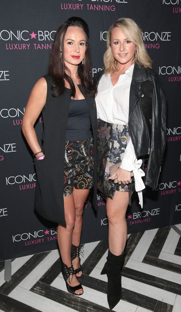 Vicki Sullivan and Tara O Brien at the Iconic Bronze Extra Dark Tan launch at the Ivy Garden Hotel, Dublin. Picture: Brian McEvoy