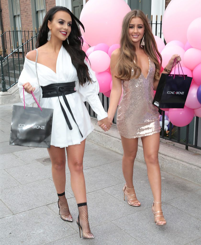 Love Island beauties Rosie Williams and Georgia Steel pictured as they jetted into Ireland for the Iconic Bronze Tan glitzy party at Dublin's Ivy Garden Hotel. Picture: Brian McEvoy