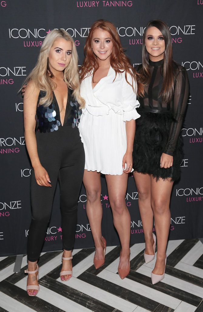 Roisin Penny, Megan Connery and Amanda Davitt at the Iconic Bronze Extra Dark Tan launch at the Ivy Garden Hotel,Dublin. Picture: Brian McEvoy