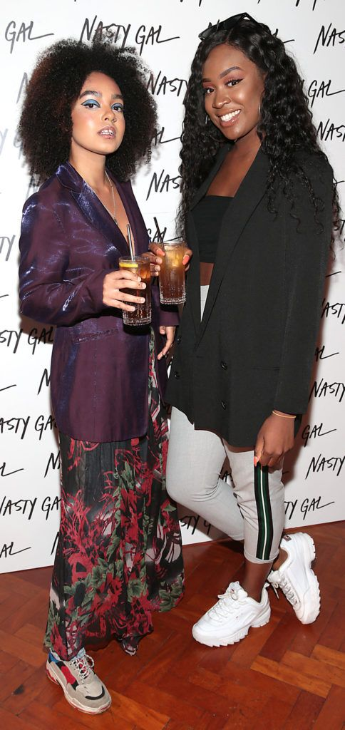 Michelle Turner and Karen Emelu  at The NastyGal.com Autumn Winter Showcase at Drury Buildings Dublin Picture: Brian McEvoy