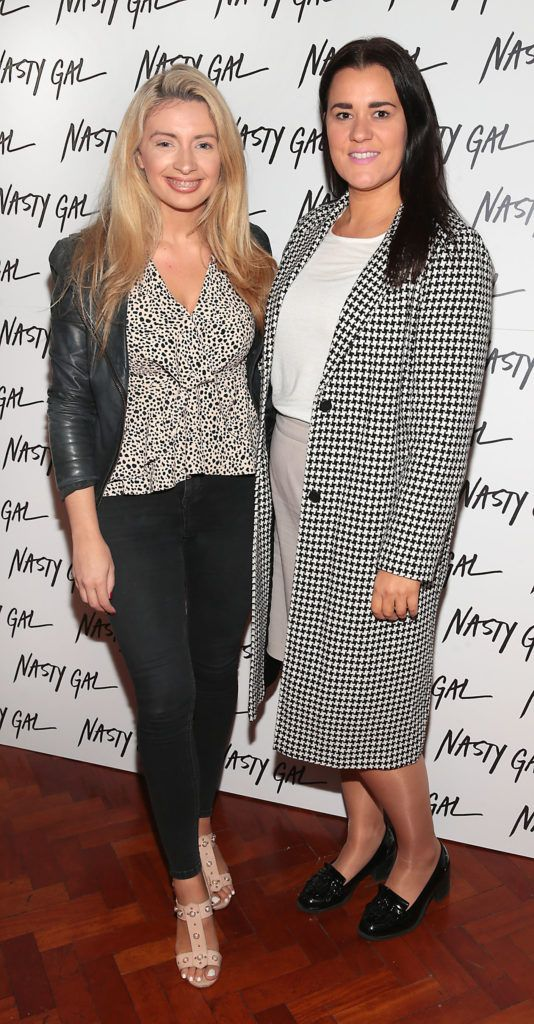 Laura Bergin and Aoife Kelly at The NastyGal.com Autumn Winter Showcase at Drury Buildings Dublin Picture: Brian McEvoy