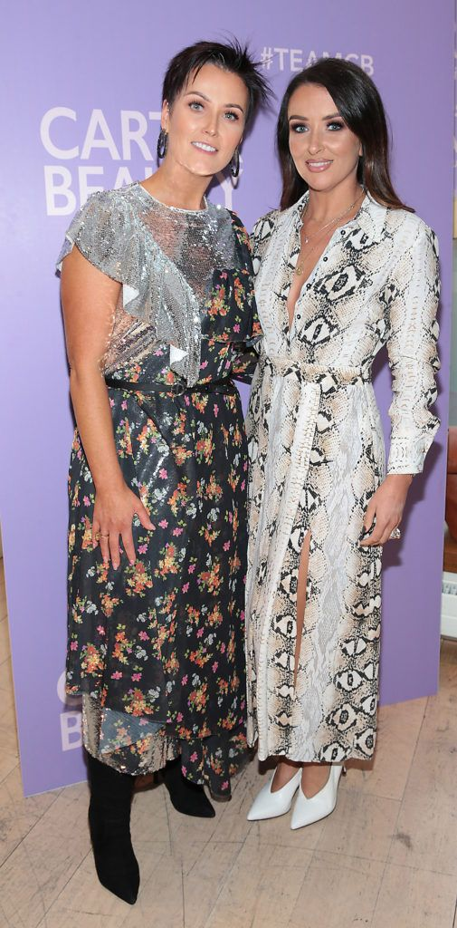 Rosie Kirk and Ailin Traynor pictured at the launch of Carter Beauty Cosmetics at the Morrison Hotel Dublin. Picture: Brian McEvoy