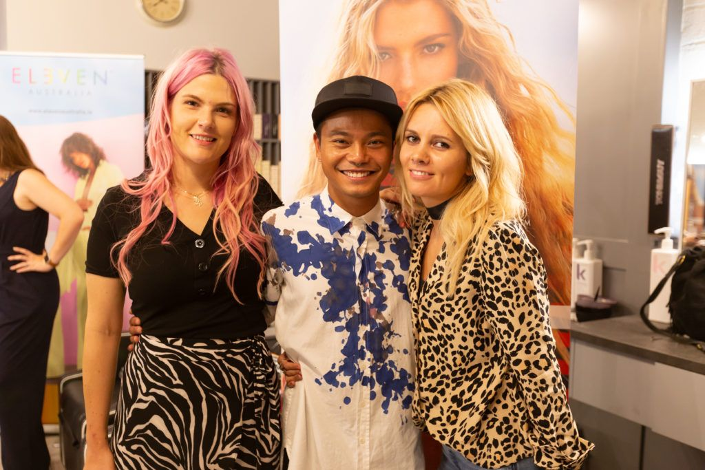 Amy Lily, Melvin Royce Lane and Sarah Maher at the Eleven Australia industry launch in The Hair Cafe Smithfield. Photo: Peter Regazzoli