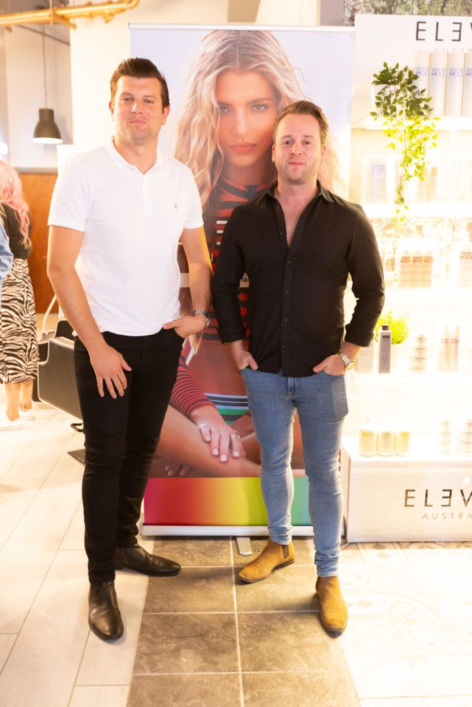 Will Mc Creery and Kieran Walsh at the Eleven Australia industry launch in The Hair Cafe Smithfield. Photo: Peter Regazzoli