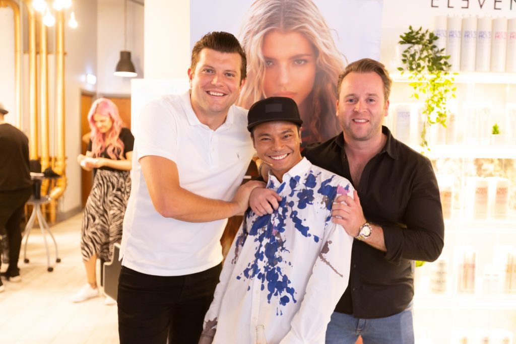 Will Mc Creevey, Melvin Royce Lane and Kieran Walsh at the Eleven Australia industry launch in The Hair Cafe Smithfield. Photo: Peter Regazzoli