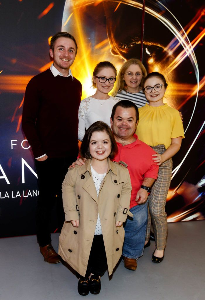Sinead Burke pictured with her family Chris, Niamh, mother Cat, Chloe and father Chris pictured at an exclusive first look at up-coming feature film First Man at Dublin's Light House Cinema. Picture Andres Poveda