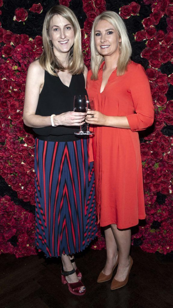 Ann Marie Nagle and Jessica Byrne pictured at the Diablo wine launch in Dublin's The Black Door. Photo: Patrick O'Leary