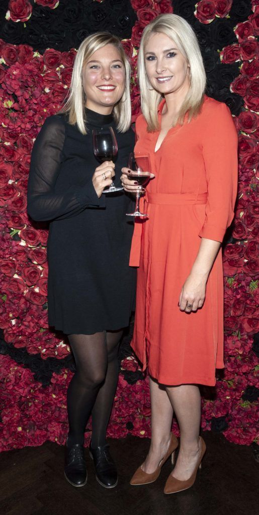 Emilie Biver and Jessica Byrne pictured at the Diablo wine launch in Dublin's The Black Door. Photo: Patrick O'Leary