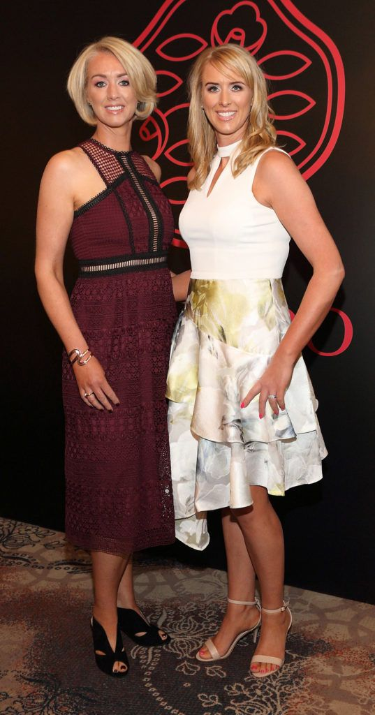 Grainne Lavin and Olive Linnane at the Shiseido International Charity Lunch and Fashion Show in aid of the Rape Crisis Centre hosted by catwalk queen Miss Candy at the Westin Hotel, Dublin. Pic Brian McEvoy Photography