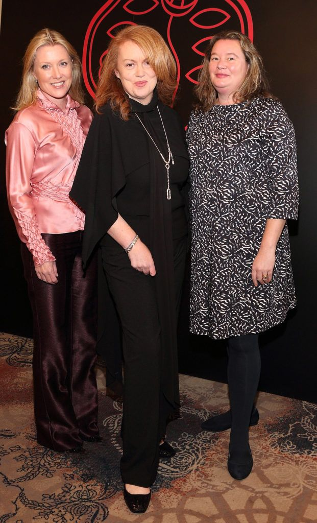 Grace Terrinoni, Rachel Bolger and Lisa Kilroy at the Shiseido International Charity Lunch and Fashion Show in aid of the Rape Crisis Centre hosted by catwalk queen Miss Candy at the Westin Hotel, Dublin. Pic Brian McEvoy Photography
